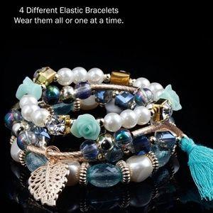 4 pcs Elastic Blue Boho Stackable Bracelet